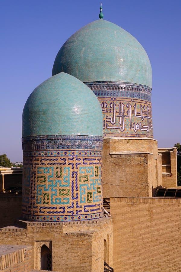 在伊朗王我Zinda,撒马而罕的绿松石圆顶 库存图片
