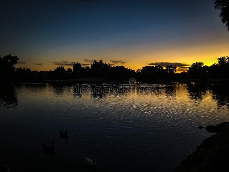 在伍德沃德公园的日落晚上 库存照片