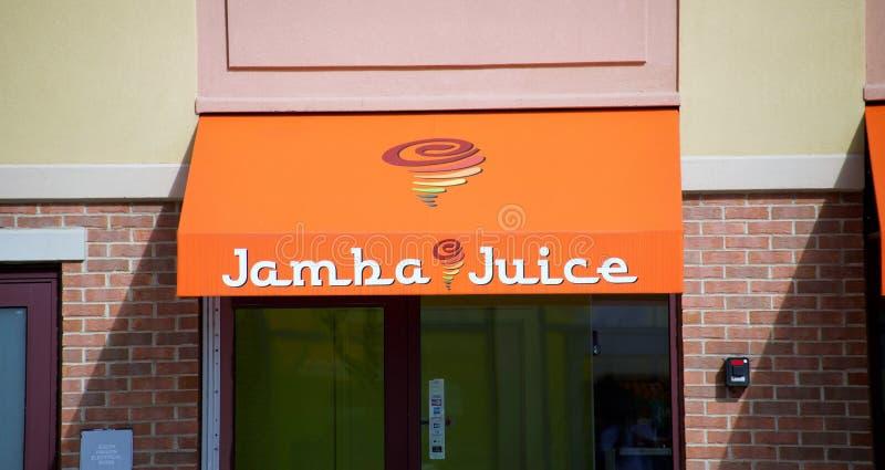 在伍德费尔德购物中心的Jamba汁液 库存照片