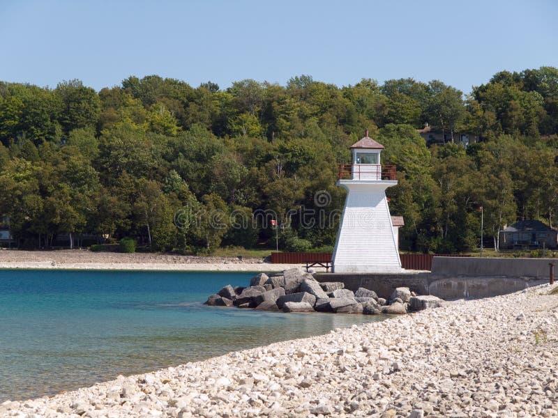 在休伦湖畔的灯塔 免版税图库摄影