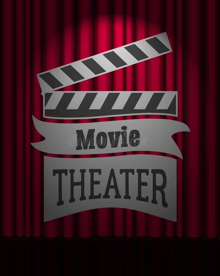 在优美深红帷幕场面的电影院商标 向量例证