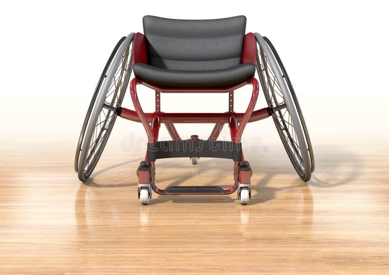 在优美的木地板上的体育轮椅 皇族释放例证