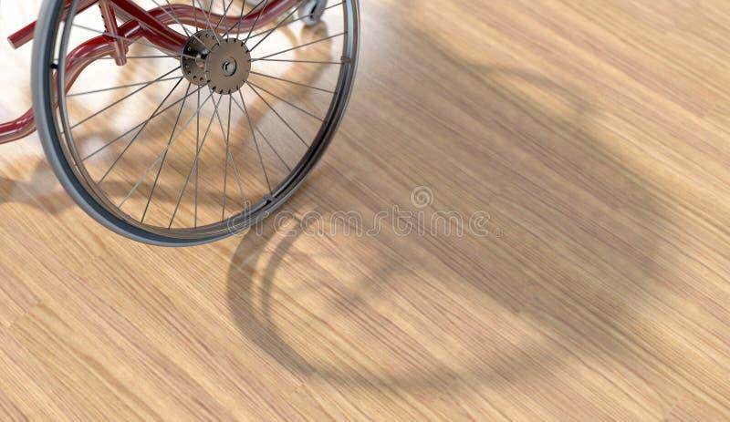 在优美的木地板上的体育轮椅 库存例证