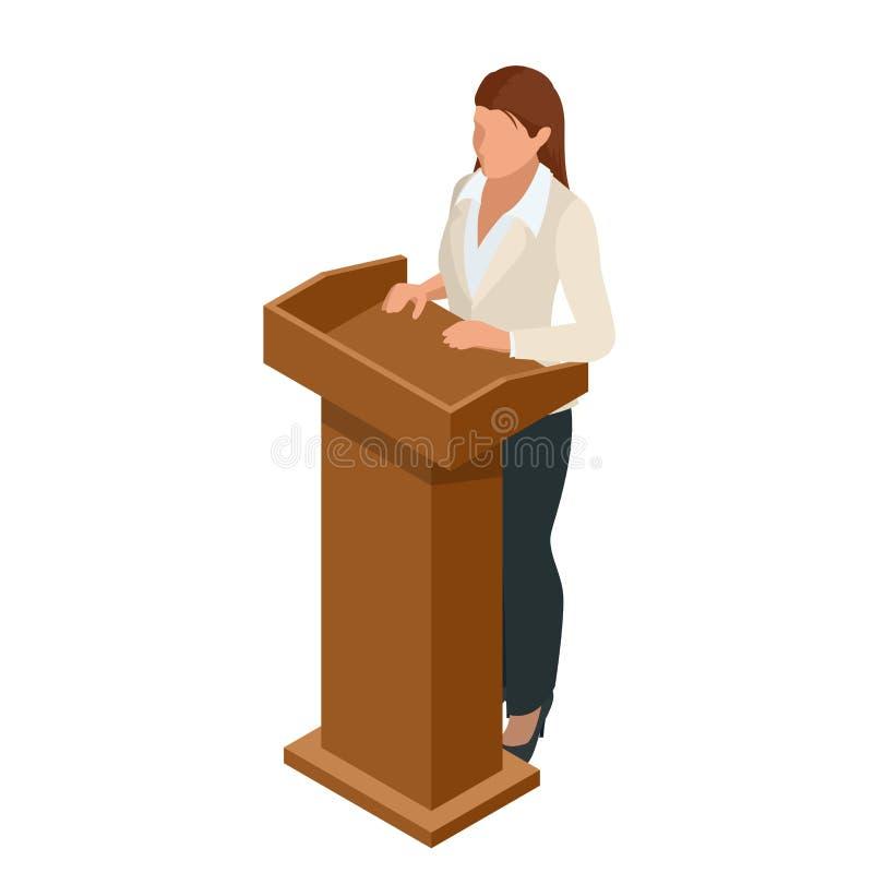 给在会议的一个介绍或遇见设置的女商人 演说者讲话从论坛传染媒介 皇族释放例证