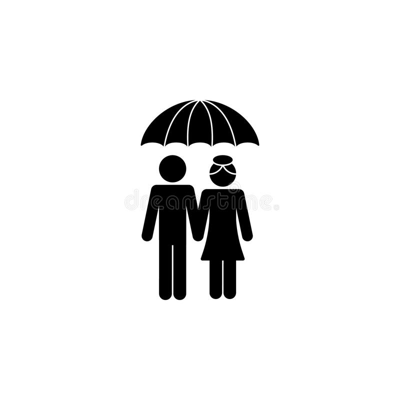 在伞象下的已婚夫妇 愉快的家庭象的元素 优质质量图形设计象 标志,标志collecti 皇族释放例证