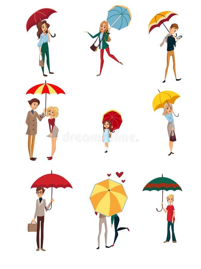 在伞集合下的人们,走与五颜六色的伞,多雨天气概念动画片传染媒介的孩子、男人和妇女 向量例证