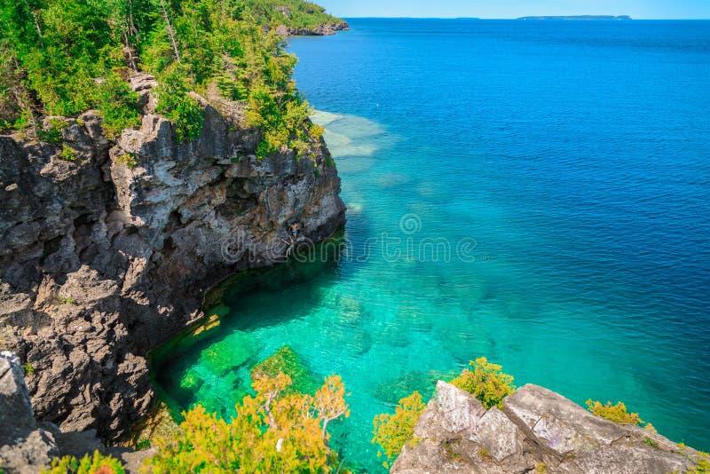 在伟大的Cyprus湖和峭壁的自然风景视图 免版税库存图片