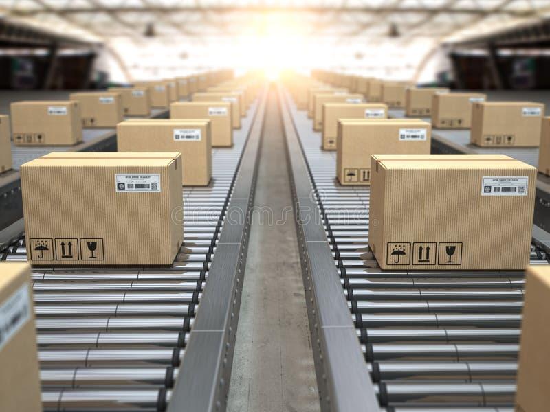 在传动机路辗的箱子 送货服务、配给物仓库和小包运输系统 库存例证