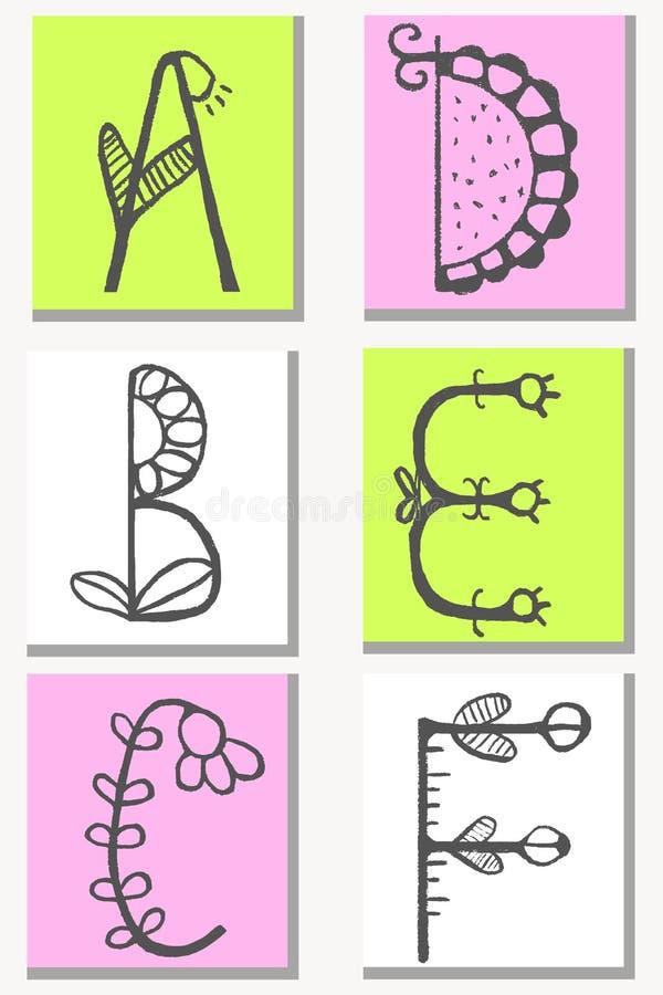 在传染媒介做的花样式的逗人喜爱的手拉的字母表 乱画信件A, B, C, D, E,您的设计的F 库存例证