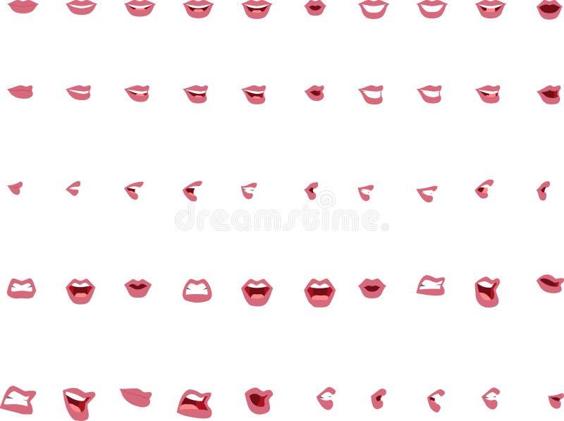 在传染媒介的五十个女性嘴位置-桃红色嘴唇 向量例证