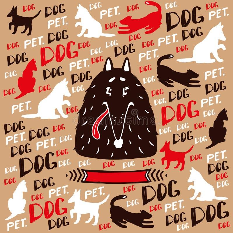 在传染媒介的卷毛狗与狗阴影 库存例证