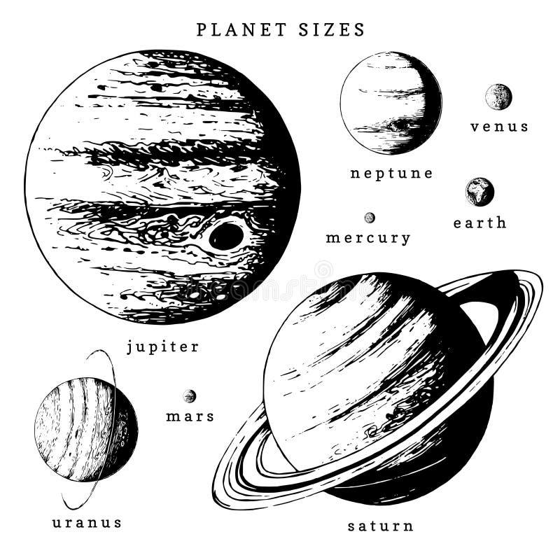在传染媒介的太阳系infographics 行星在大小上比较的手拉的例证 向量例证