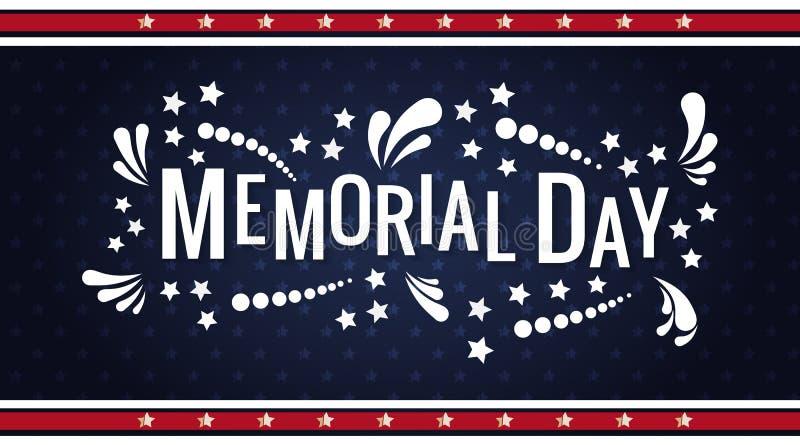 在传染媒介的愉快的阵亡将士纪念日词组上写字 与颜色星和摘要的全国美国假日例证 库存照片