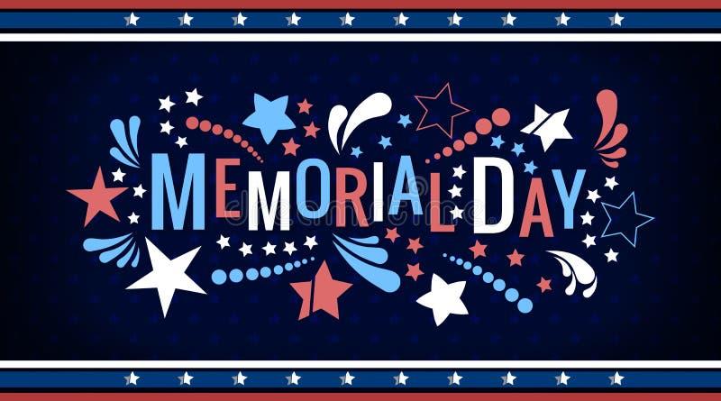 在传染媒介的愉快的阵亡将士纪念日词组上写字 与颜色星和摘要的全国美国假日例证 免版税库存照片