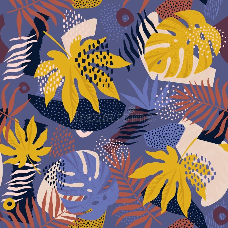 在传染媒介的拼贴画当代花卉夏威夷样式 无缝的表面设计 库存照片