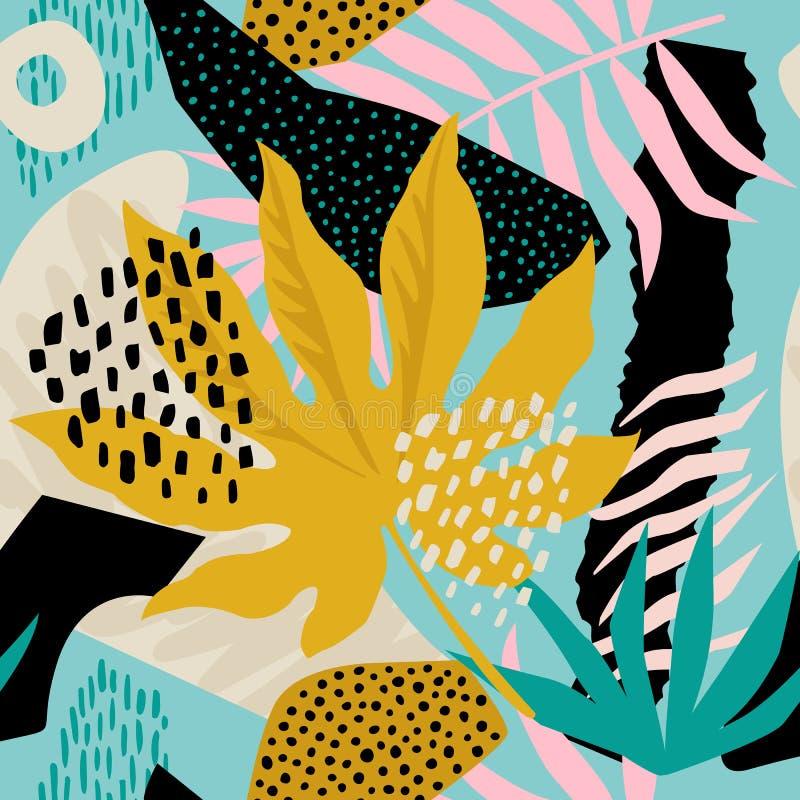 在传染媒介的拼贴画当代花卉夏威夷样式 无缝的表面设计 库存例证