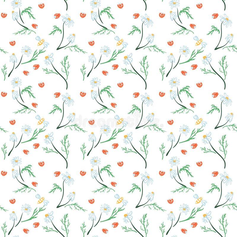 在传染媒介的时髦无缝的花卉样式 向量例证
