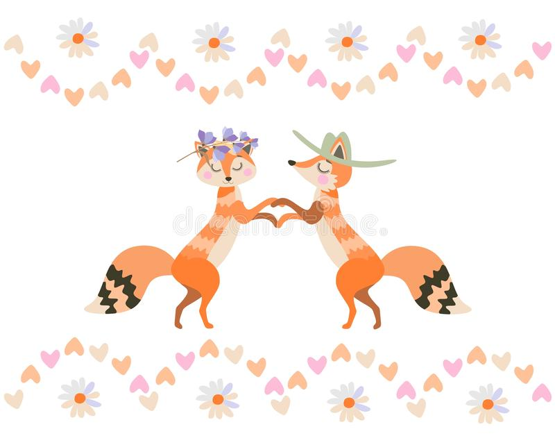 在传染媒介的白色背景在爱的逗人喜爱的动画片狐狸隔绝的 情人节卡片 皇族释放例证