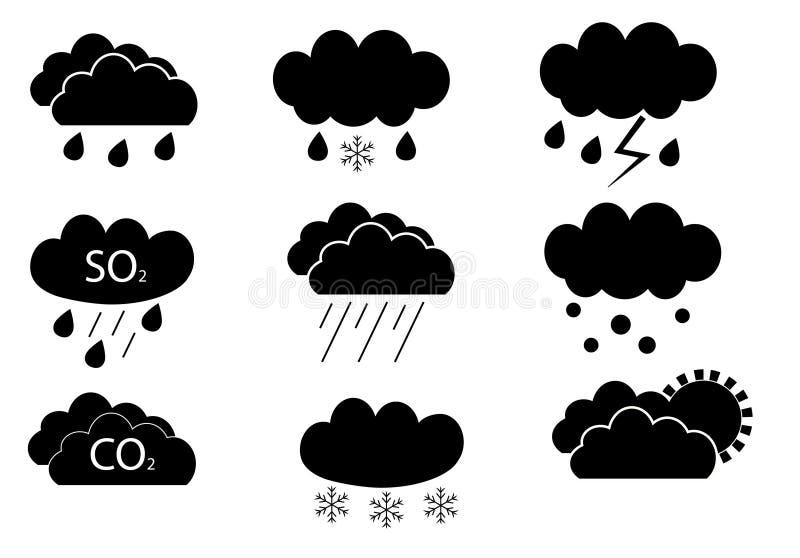 在传染媒介设置的天气云彩 皇族释放例证