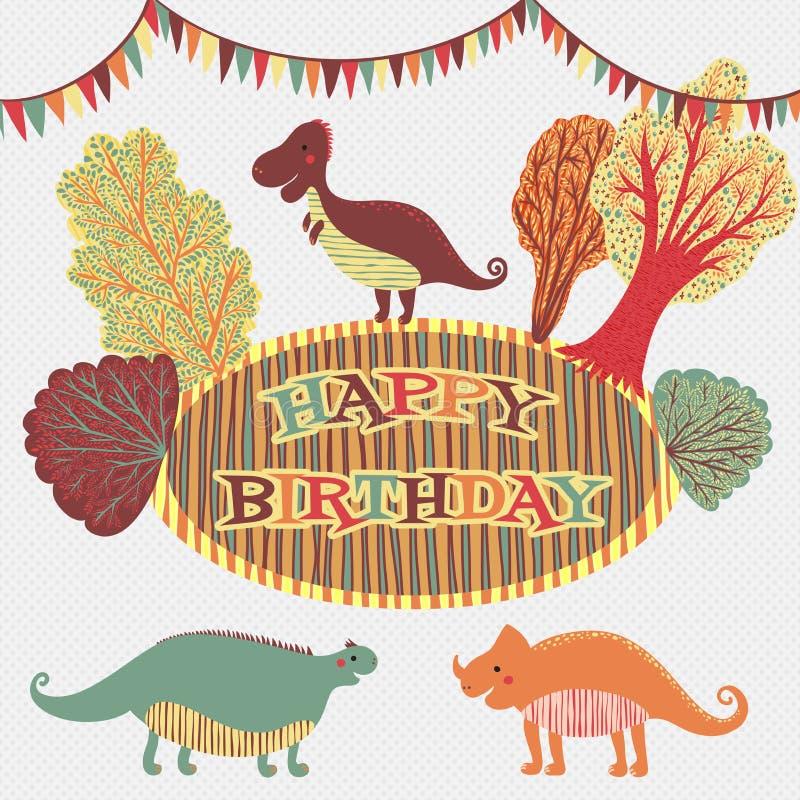 在传染媒介的可爱的生日快乐卡片 与动画片恐龙和树的甜激动人心的卡片在减速火箭的颜色的花卉花圈 向量例证
