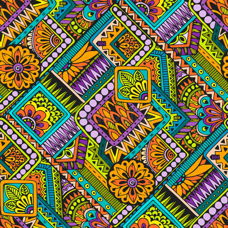在传染媒介的无缝的亚洲种族花卉减速火箭的乱画背景样式 无刺指甲花佩兹利mehndi乱画设计部族样式 库存例证