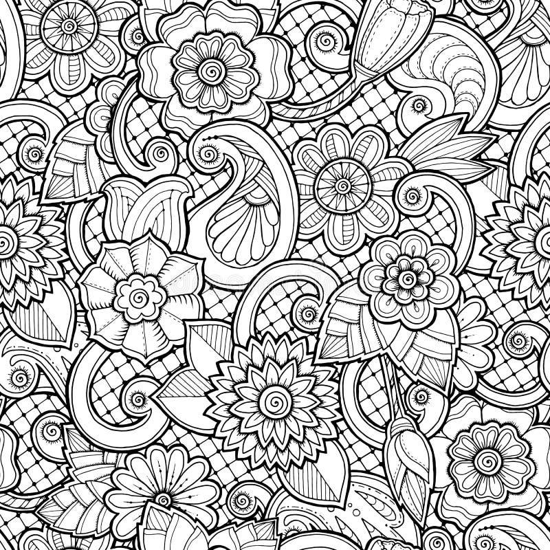 在传染媒介的无缝的背景与乱画、花和佩兹利 库存例证