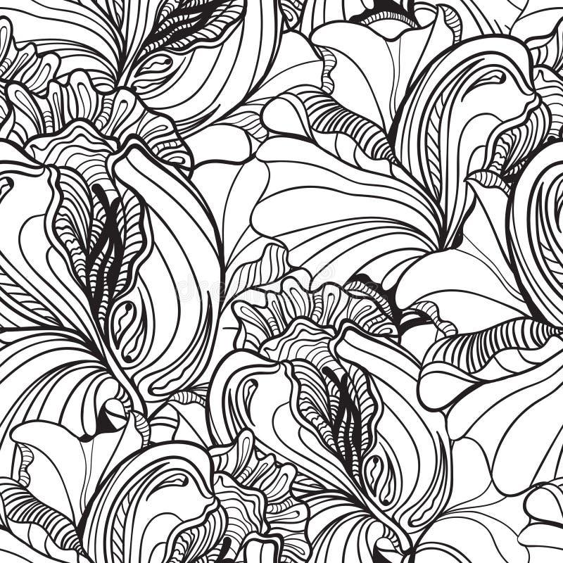 在传染媒介的无缝的花卉乱画背景样式与花梢f 库存例证