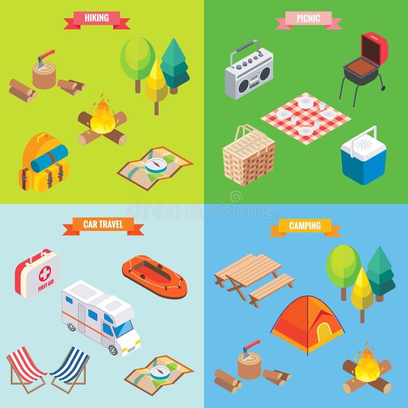 在传染媒介等量样式的野营的对象 平的3d等量设计 家庭度假,远足,野餐,汽车旅行 阵营 皇族释放例证