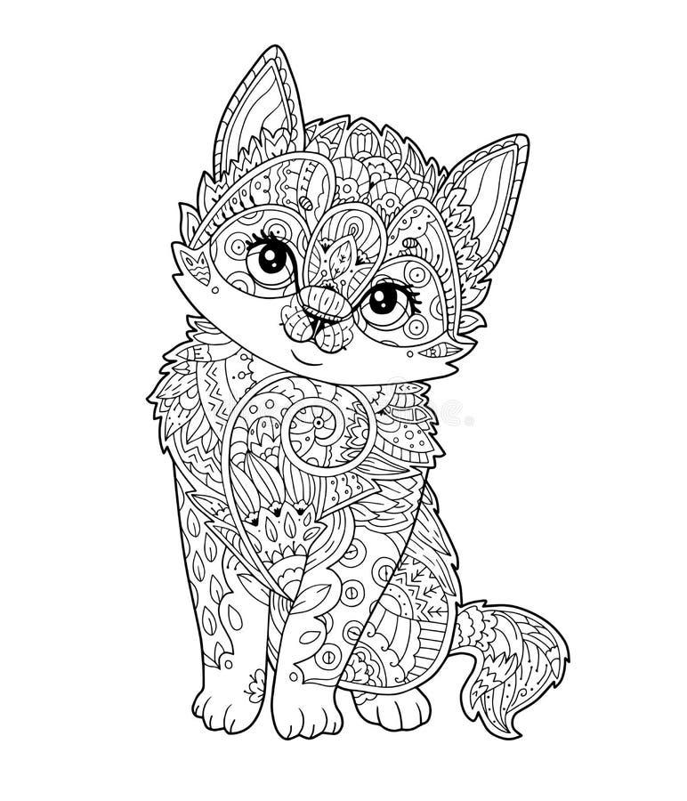 在传染媒介装饰的坐的小猫 皇族释放例证