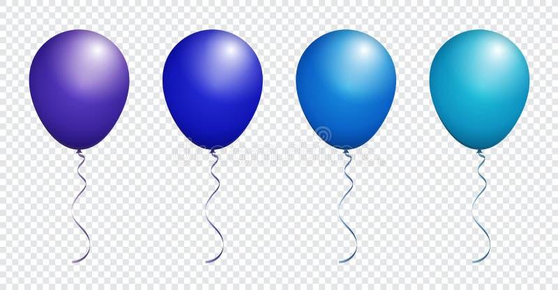在传染媒介集合的白色隔绝的颜色光滑的绿色气球 库存例证