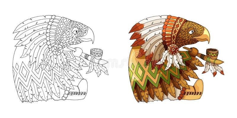 在传统印度全国服装着色的卡通人物美国老鹰 向量例证