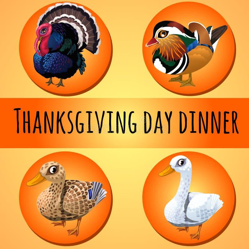 在传统晚餐的题材的一张海报为感恩天 禽畜或家禽 传染媒介动画片特写镜头 皇族释放例证