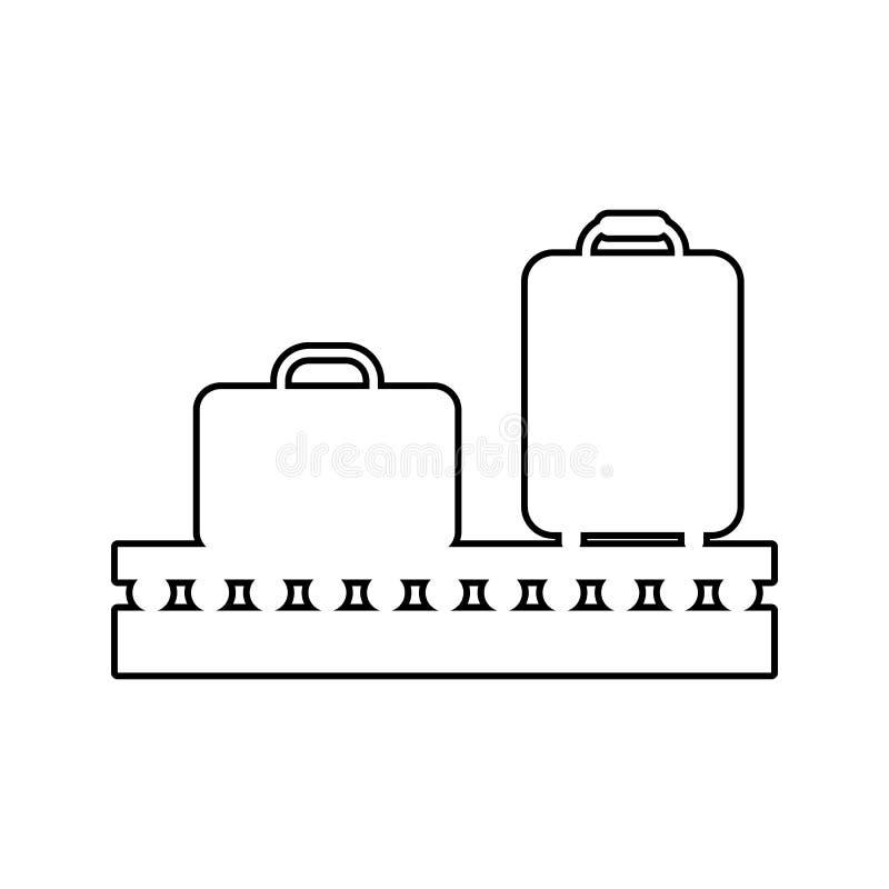 在传送带象的行李 网络安全的元素流动概念和网应用程序象的 网站设计的稀薄的线象 向量例证
