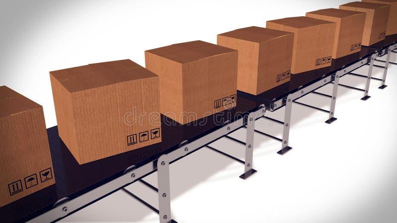 在传送带运输商品的运送箱 皇族释放例证