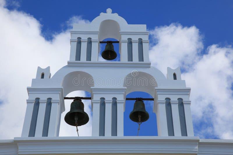 在希腊大教堂的钟楼 库存图片