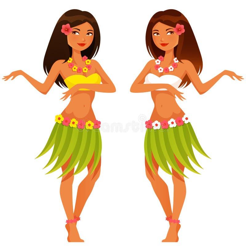 在传统服装的夏威夷女孩跳舞 皇族释放例证