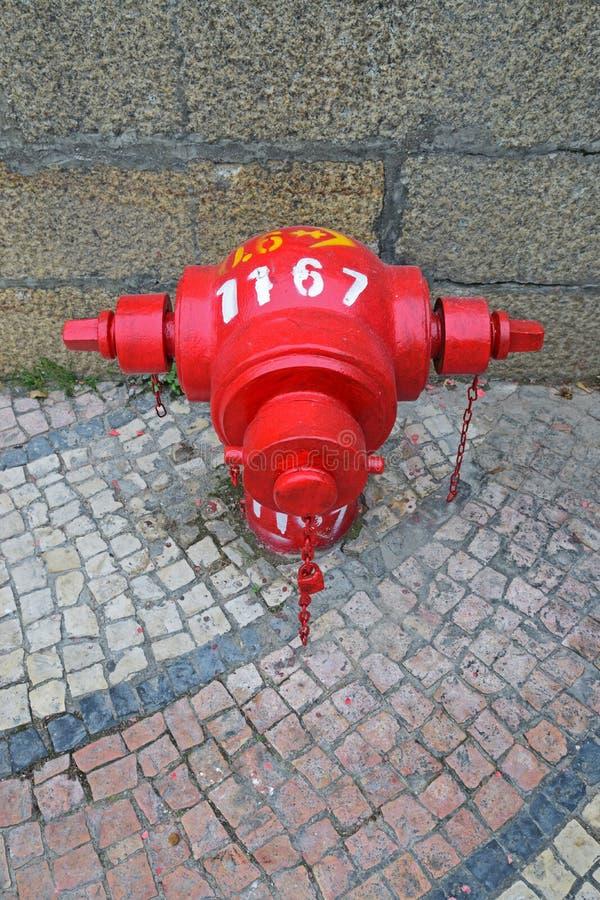 在传统风格葡萄牙人Calcada路面的红火消防栓 免版税图库摄影