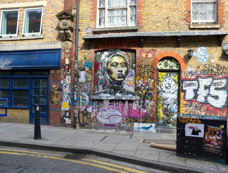 在伦敦街道的独特的都市墙壁艺术 免版税库存图片