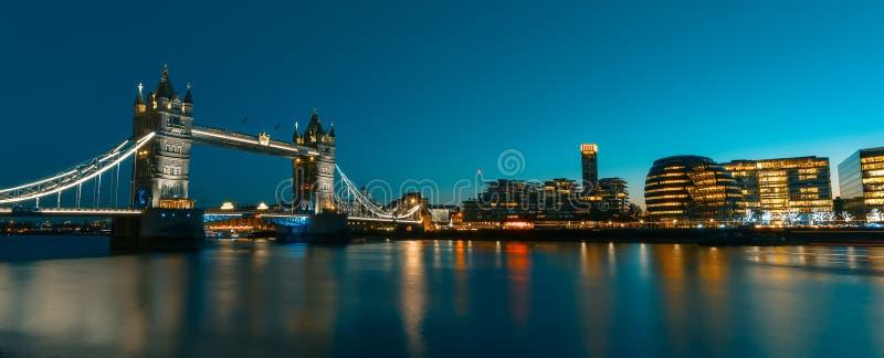 在伦敦都市风景全景的看法日落的,现代样式 免版税图库摄影