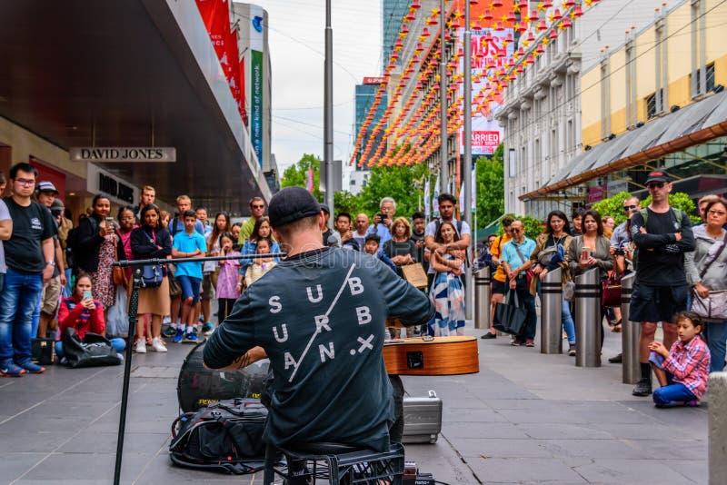 在伯克街道上的卖艺人,墨尔本,澳大利亚 图库摄影