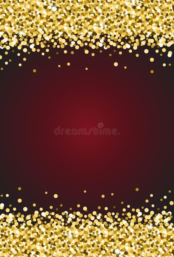 在伯根地红色背景传染媒介1的垂直的金子淡光闪闪发光 库存例证