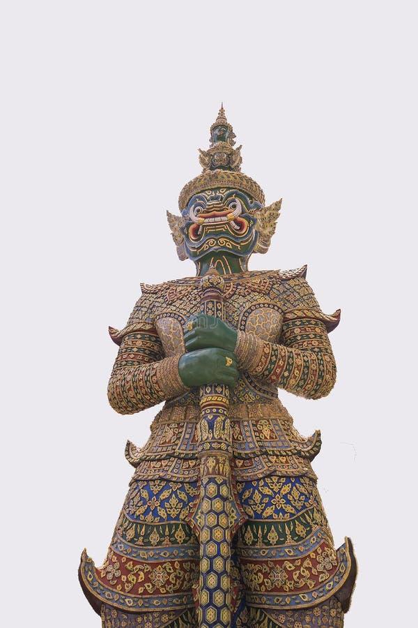 在位于Wat的寺庙前面的巨型立场Phra Keaw 免版税库存图片