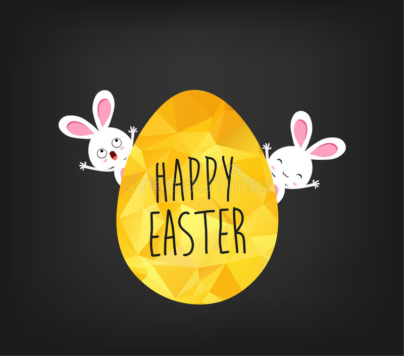 在低多三角样式的愉快的复活节贺卡 金黄在黑backgr隔绝的复活节彩蛋和兔宝宝平的设计多角形  库存例证