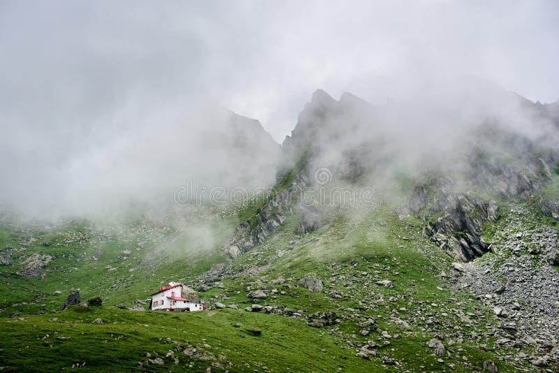 在低绿色象草的草甸隔绝的白色房子身分在雾盖的壮观的落矶山脉附近在罗马尼亚 免版税图库摄影