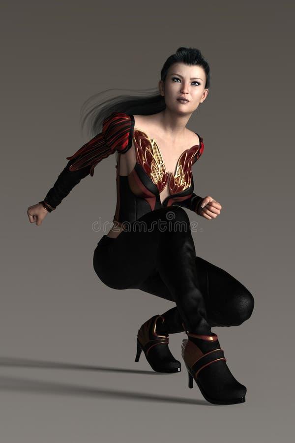 在低落的字符蹲下准备好飞跃姿势的回报一个美丽的幻想样式妇女战士 向量例证