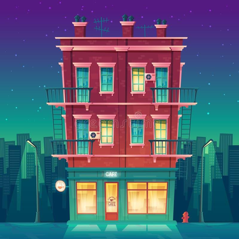 在住宅多层的公寓的传染媒介日夜不停的咖啡馆 皇族释放例证