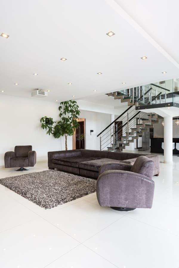 在住所的现代客厅家具 免版税图库摄影