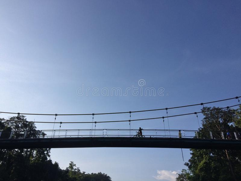 在佐井Yok国立公园北碧泰国的旅行吊桥 图库摄影