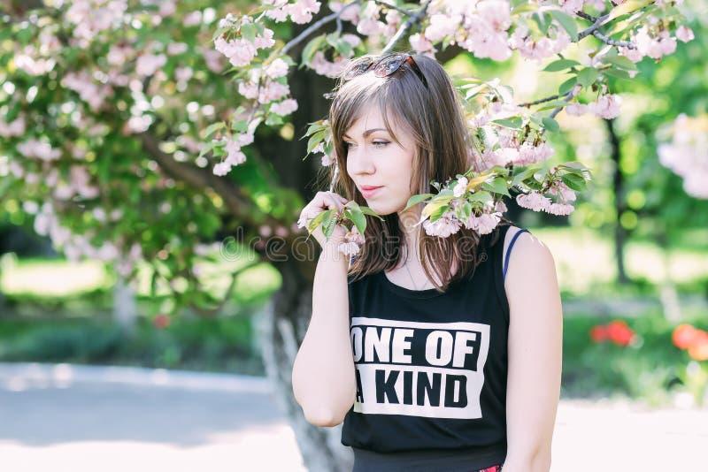 在佐仓开花的树附近的年轻美丽的妇女 桃红色花、春天和青年概念 时髦的女孩 免版税图库摄影