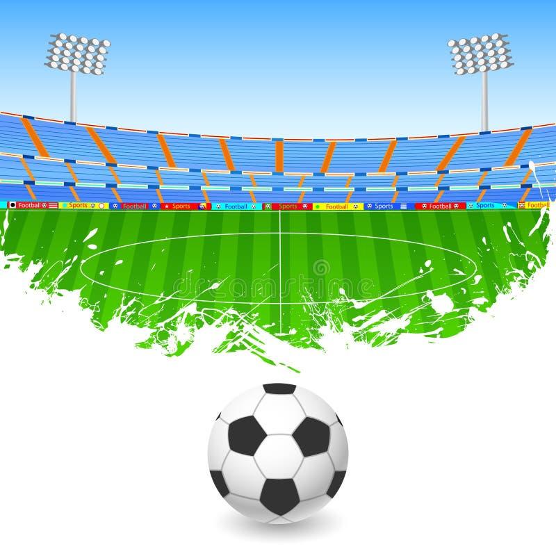 在体育场的足球 向量例证